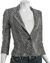 black leopard jacquard single button blazer