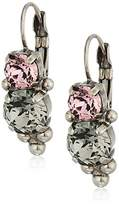 Sorrelli Army Girl Ornate Crystal Rounds French Wire Drop Earrings