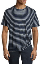 ATM Anthony Thomas Melillo Striped Linen-Silk Crewneck T-Shirt, Blue/White