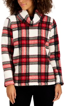 Style&Co. Style & Co Plaid Cowlneck Sherpa Pullover, Created for Macy's