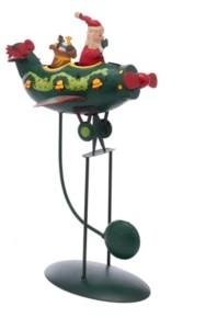 Kurt Adler 12-Inch Santa in Plane Pendulum Table Piece