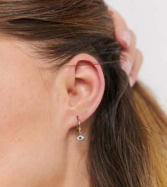 Shashi embellished eye drop huggy hoop earrings in gold vermeil plated sterling silver