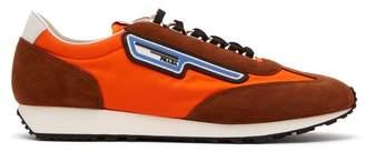 Prada Milano Nylon And Suede Trainers - Mens - Orange