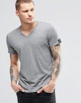 Replay T-shirt Vneck Raw Edge In Grey Marl