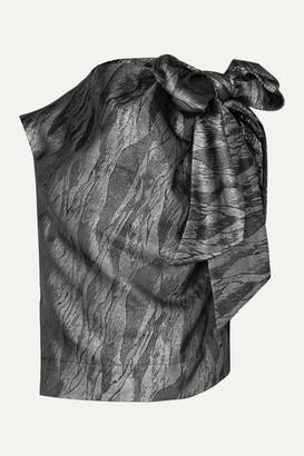 Ganni Bow-detailed Draped Metallic Jacquard Top - Black