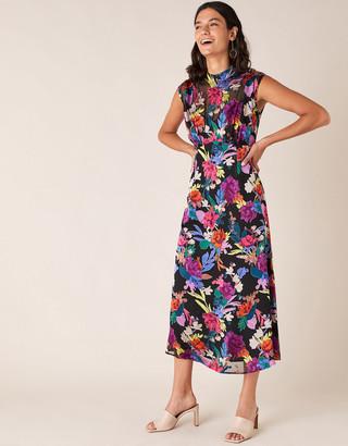 Under Armour Bonnie Floral Burnout Print Midi Dress Black