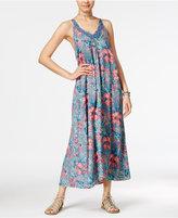Roxy Juniors' Printed Crochet-Trim Maxi Dress