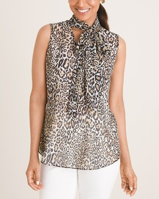 Chico's Animal-Print Sleeveless Scarf-Front Blouse