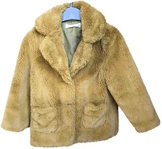 MANGO Khaki Faux fur Jackets & Coats