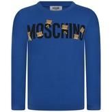Moschino MoschinoBlue Teddy Logo Jersey Top