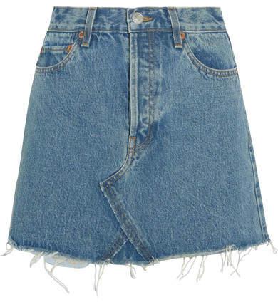 RE/DONE Originals Distressed Denim Mini Skirt - Mid denim