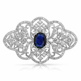 Bling Jewelry Oval Simulated Sapphire CZ Style Flower Pin Rhodium Plated