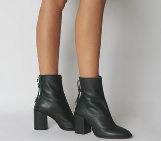 Office Attribute Back Zip Block Heels Green Leather