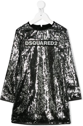 DSQUARED2 Sequined Embroidered Logo Dress