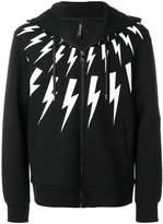 Neil Barrett lightning print zip hoodie