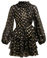 Dolce & Gabbana Fil-coupe Balloon-sleeve Mini Dress - Womens - Black Gold