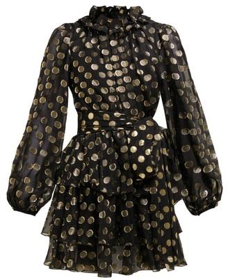 Dolce & Gabbana Fil-coupe Balloon-sleeve Mini Dress - Black Gold
