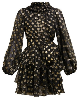 Dolce & Gabbana Fil-coupe Balloon-sleeve Mini Dress - Womens - Black Gold