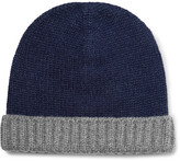 Loro Piana Two-tone Ribbed Cashmere Beanie - Navy