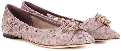 Dolce & Gabbana Embellished lace ballerinas