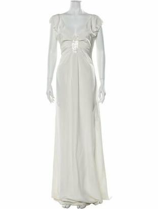 Valentino V-Neck Long Dress White