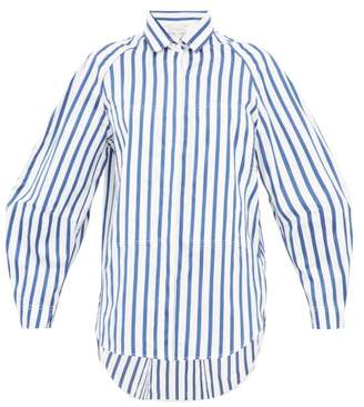 Lee Mathews - Ottilie Striped Cotton Poplin Shirt - Womens - Blue White