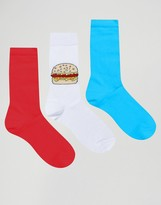 Asos Socks With Burger Design 3 Pack