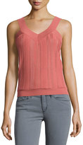 See by Chloe Ribbed V-Neck Sleeveless Sweater, Pink