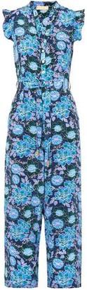 Jagger Paloma Blue Cropped Floral-print Silk Crepe De Chine Jumpsuit