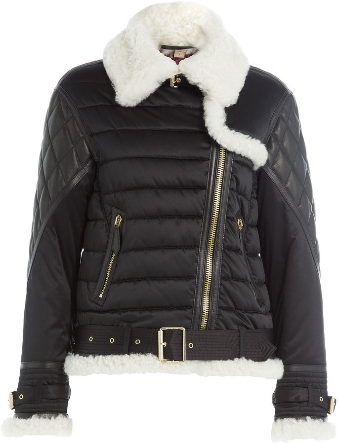 Burberry Quilted Jacket with Faux Shearling Collar