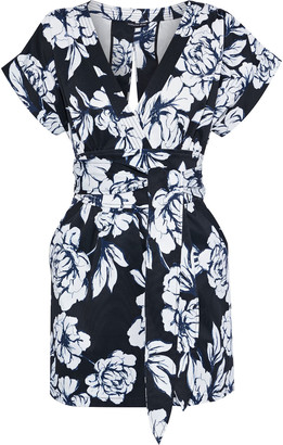 Marissa Webb Luciano Wrap-effect Floral-print Faille Mini Dress