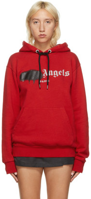 Palm Angels Red and Black Paris Logo Sprayed Hoodie
