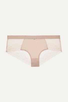 Chantelle Le Marais Stretch-lace And Point D'esprit Briefs - Blush