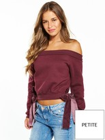 Lost Ink Petite Bardot Velvet Bow Sweat