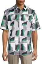 Carlos Campos Abstract Print Cotton Casual Button-Down Shirt