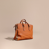 Burberry Leather And House Check Briefcase, Brown