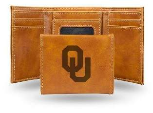 NCAA Oklahoma Sooners Laser Engraved Brown Leather Trifold Wallet
