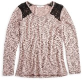 Pinc Premium Girls' Lace Trimmed Marled Top - Big Kid
