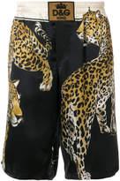 Dolce & Gabbana leopard print track shorts