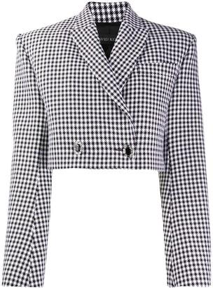 David Koma Cropped Houndstooth Print Jacket