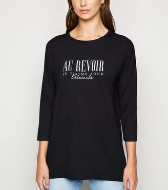 New Look Au Revoir Slogan 3/4 Sleeve Top