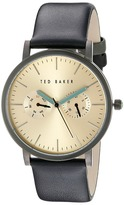 Ted Baker Classic Collection Custom Multifunction Sub-Eye w/ Contrast Detail Date Leather Strap Watch Watches