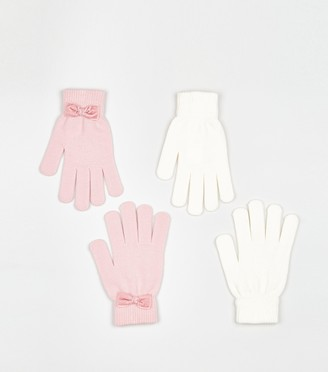 New Look 2 Pack Bow Trim Gloves