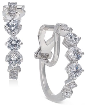 "Eliot Danori Crystal Small Clip-On Hoop Earrings, Created for Macy's 7/8"""