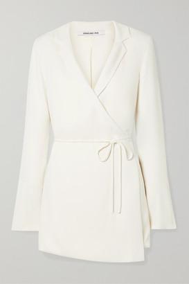 Orseund Iris Boxy Crepe Wrap Mini Dress - Cream