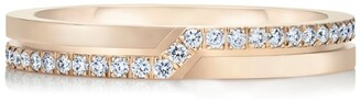 De Beers Rose Gold and Diamond Half Pave Promise Ring