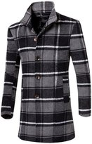 Partiss Men's Plaid Stand Collar Single Breasted Trench Coat Chinese 2XL