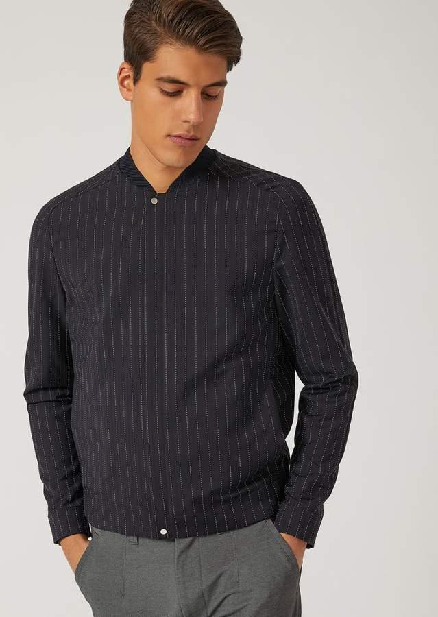 Emporio Armani Pinstripe Blouson In Tropical Wool