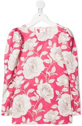 MonnaLisa Floral-Print Crew Neck Blouse