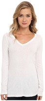 Michael Stars Slub Long-Sleeve V-Neck Tee Women's Long Sleeve Pullover